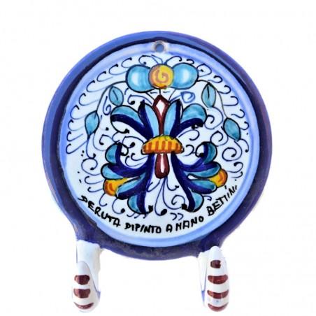 Appendino ceramica maiolica Deruta dipinto a mano decoro Ricco Deruta blu 2 Ganci