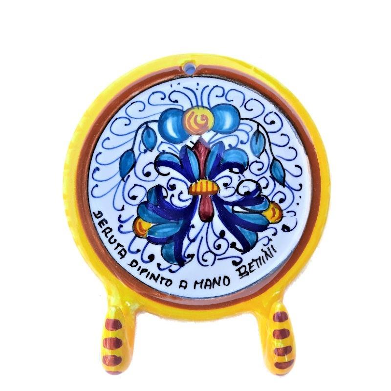 Appendino ceramica maiolica Deruta dipinto a mano decoro Ricco Deruta giallo 2 Ganci