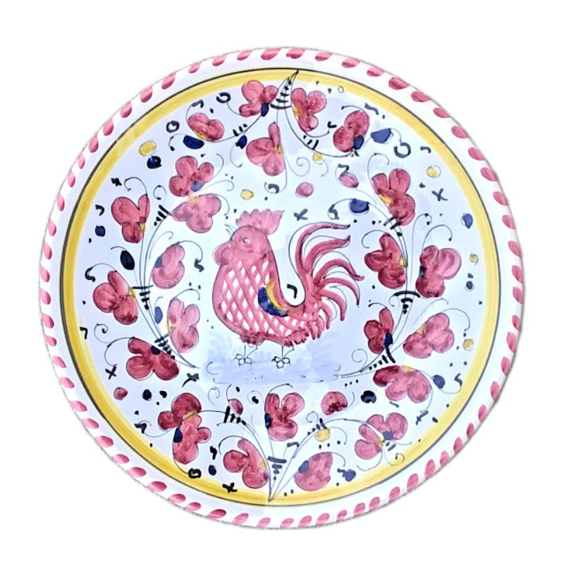 Piatto ceramica Maiolica Deruta dipinto a mano da Parete decoro Gallo Rosso Orvietano