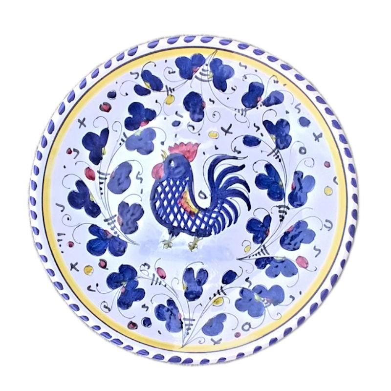 Piatto ceramica Maiolica Deruta dipinto a mano da Parete decoro Gallo Blu Orvietano