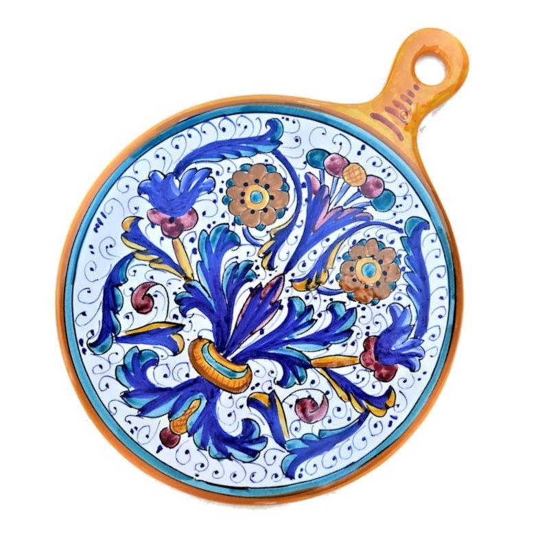 Tagliere ceramica maiolica Deruta dipinto a mano rotondo decoro Ricco Deruta Giallo