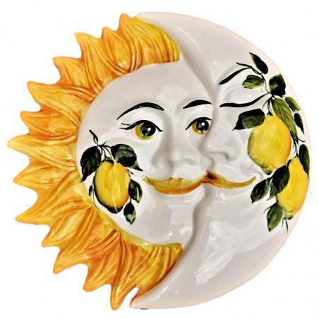 Eclissi ceramica Sole e Luna dipinta a mano decoro limoni Made in Italy