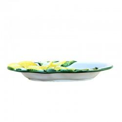 Vassoio ceramica Made in Italy dipinto a mano decoro limoni ovale alto