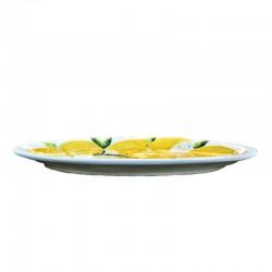 Vassoio ceramica Made in Italy dipinto a mano decoro limoni ovale piatto