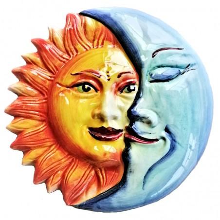 Eclissi ceramica sole e luna dipinta a mano Made in Italy