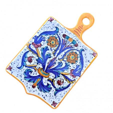 Tagliere ceramica maiolica Deruta dipinto a mano rettangolare decoro Ricco Deruta Giallo