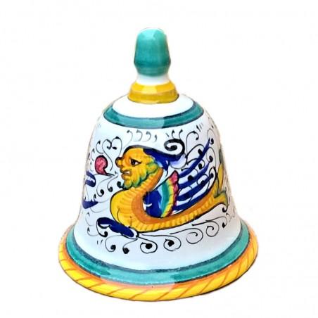 Campanella ceramica maiolica Deruta dipinta a mano decoro Raffaellesco