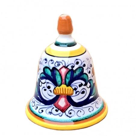 Campanella ceramica maiolica Deruta dipinta a mano decoro Ricco Deruta giallo