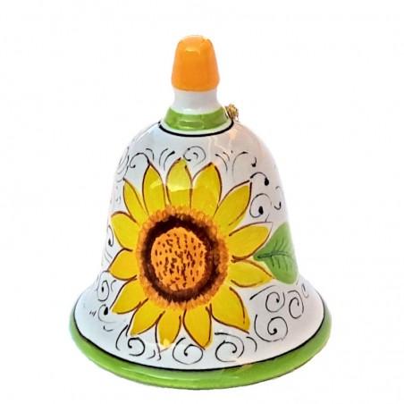 Campanella ceramica maiolica Deruta dipinta a mano decoro Girasole