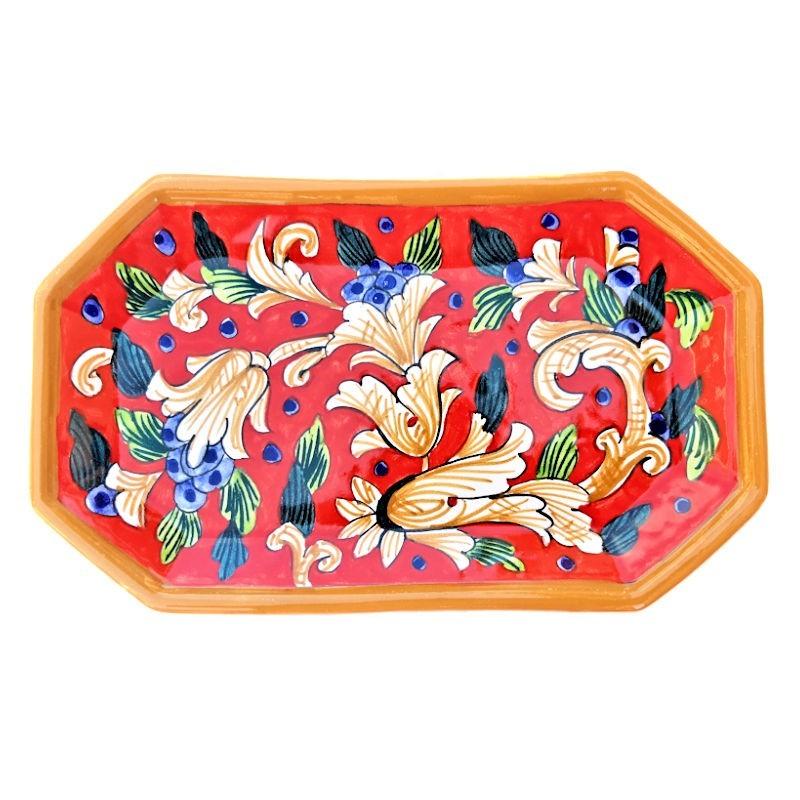 Vassoio ceramica maiolica Deruta dipinto a mano ottagonale decoro Rosso Artistico