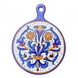 Tagliere ceramica maiolica Deruta dipinto a mano rotondo decoro Ricco Deruta blu