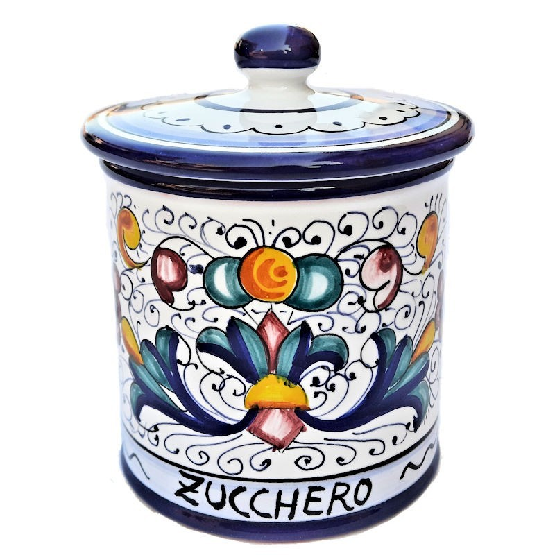 Barattolo cucina ceramica maiolica Deruta dipinto a mano decoro Ricco Deruta Blu