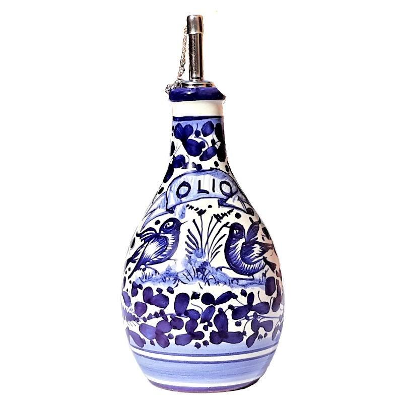 Oliera ceramica maiolica Deruta dipinta a mano decoro Arabesco Blu
