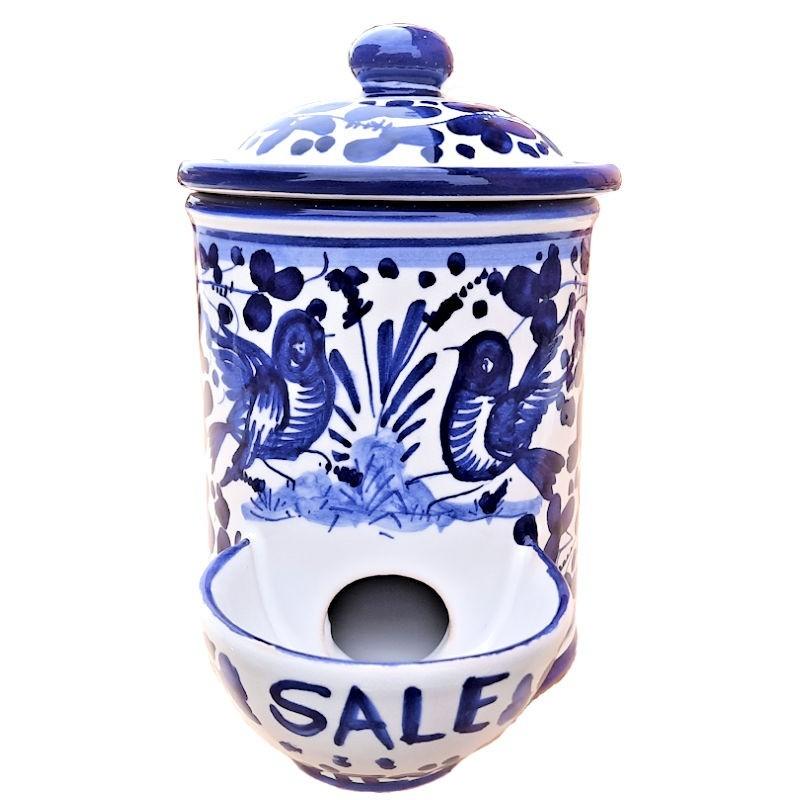 Barattolo porta sale ceramica maiolica Deruta dipinto a mano decoro Arabesco Blu