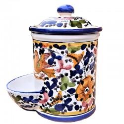 Barattolo porta sale ceramica maiolica Deruta dipinto a mano decoro Arabesco Colorato