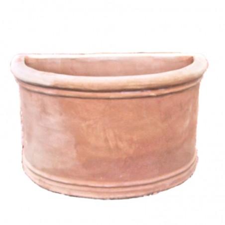 Vaso da parete in terracotta liscio lavorato a mano