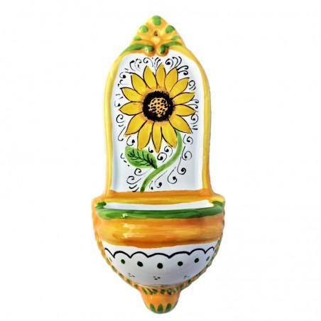 Acquasantiera ceramica maiolica Deruta dipinta a mano decoro girasole