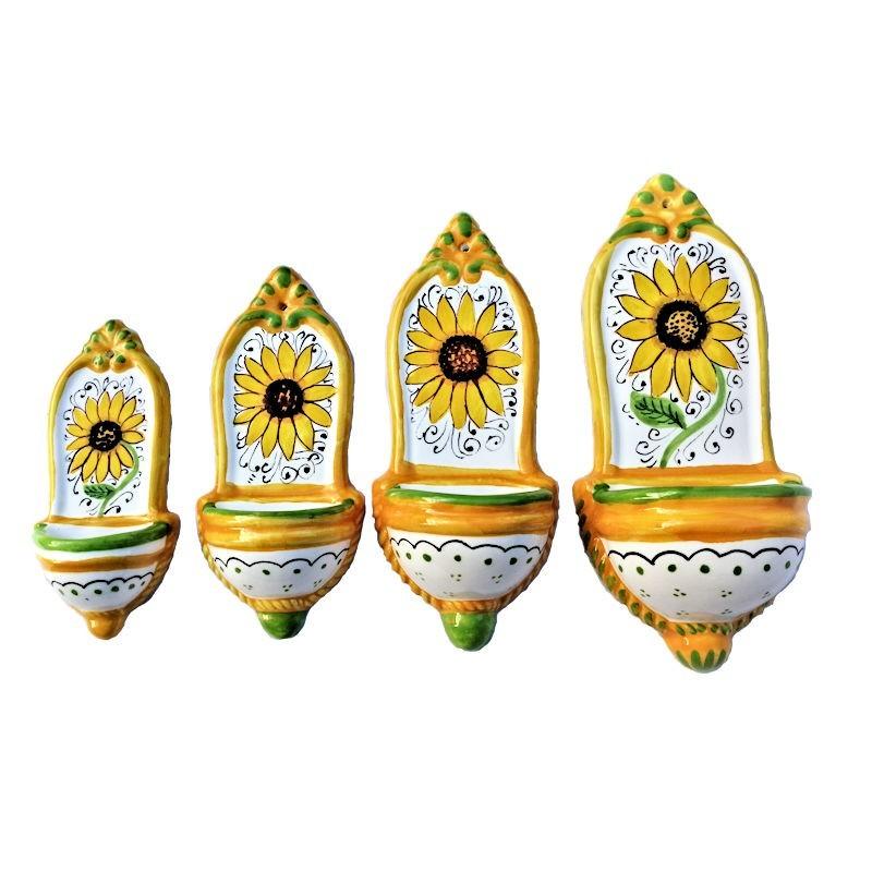 Pacco 4 acquasantiere ceramica maiolica Deruta dipinta a mano decoro girasole