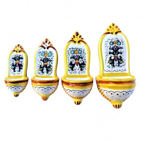 Pacco 4 acquasantiere ceramica maiolica Deruta dipinta a mano decoro Ricco Deruta giallo