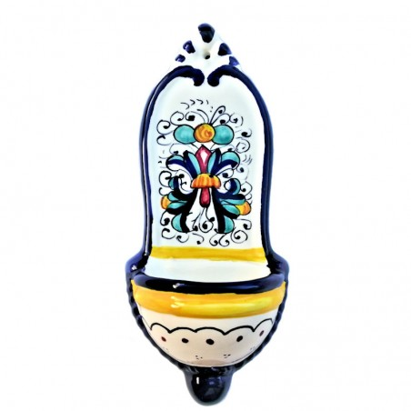 Acquasantiera ceramica maiolica Deruta dipinta a mano decoro Ricco Deruta blu