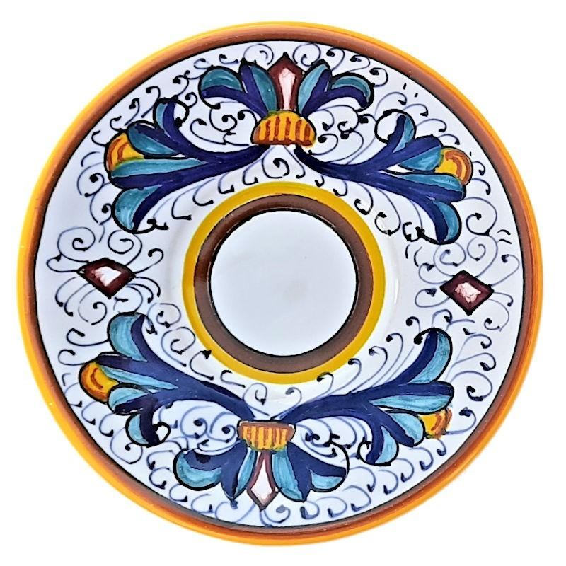 Piattino tazzina caffè ceramica maiolica Deruta dipinto a mano decoro Ricco Deruta Giallo