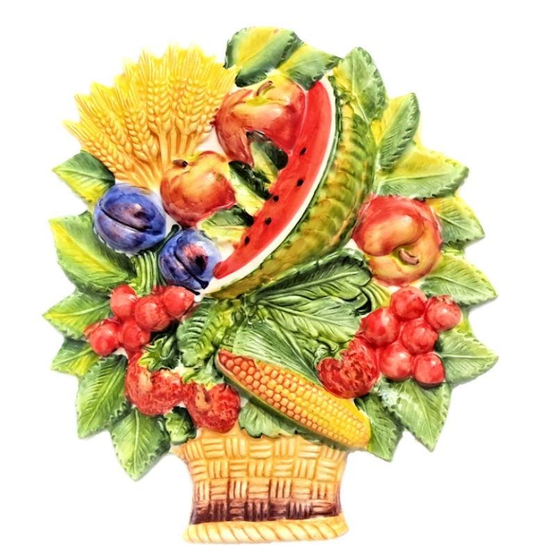 Cesto frutta anguria ceramica Made in Italy dipinto a mano decoro anguria da appendere
