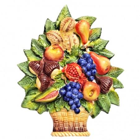 Cesto frutta uva ceramica Made in Italy dipinto a mano decoro uva da appendere
