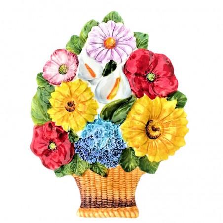 Cesto fiori ceramica Made in Italy dipinto a mano decoro fiori da appendere