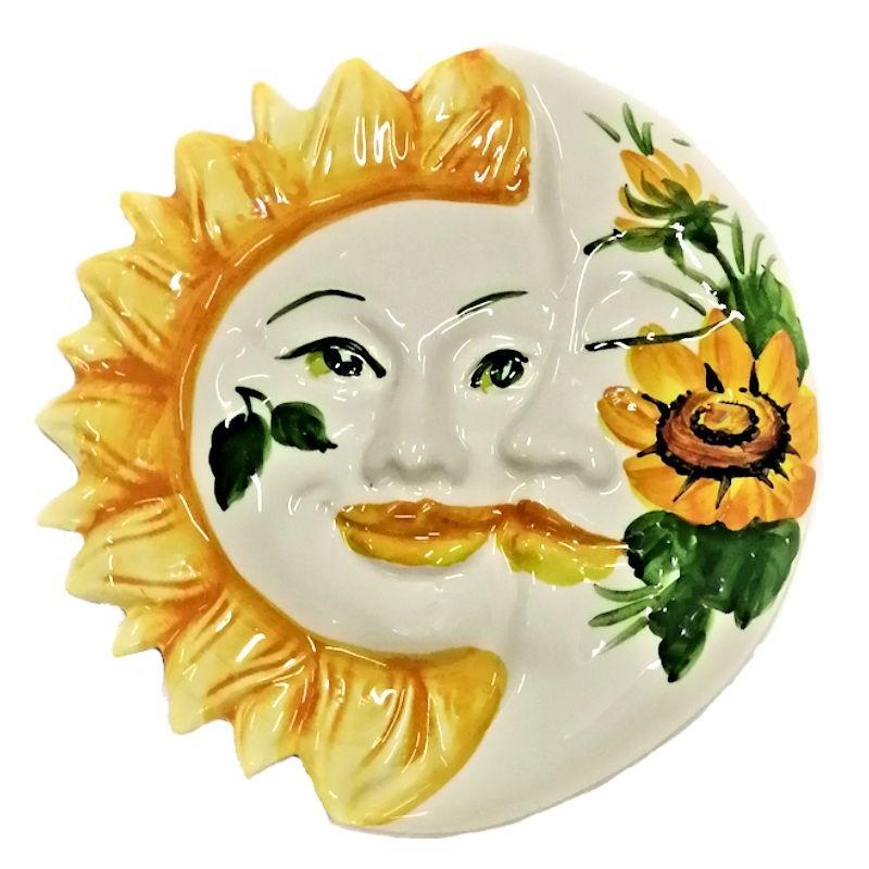 Eclissi ceramica Sole e Luna dipinta a mano decoro girasoli Made in Italy
