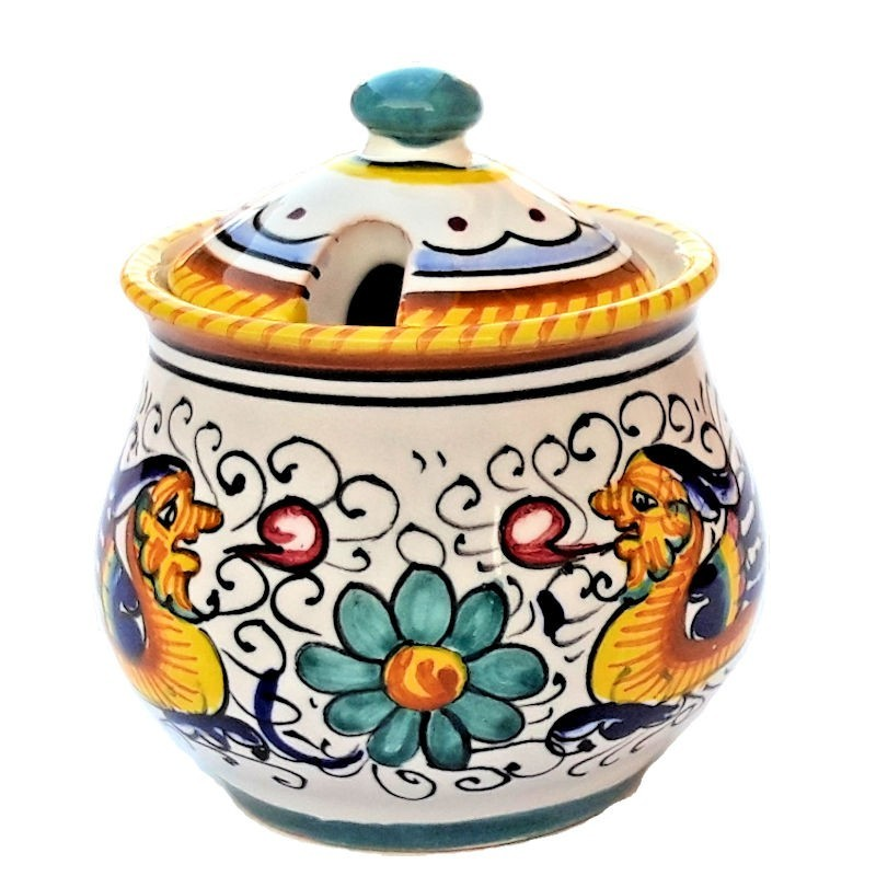 Zuccheriera ceramica maiolica Deruta dipinta a mano decoro Raffaellesco