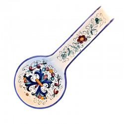 Poggiamestolo ceramica maiolica Deruta dipinto a mano decoro Ricco Deruta Blu