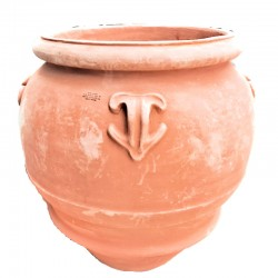 Big terracotta jar with rosette and handles hand made model wide mouth