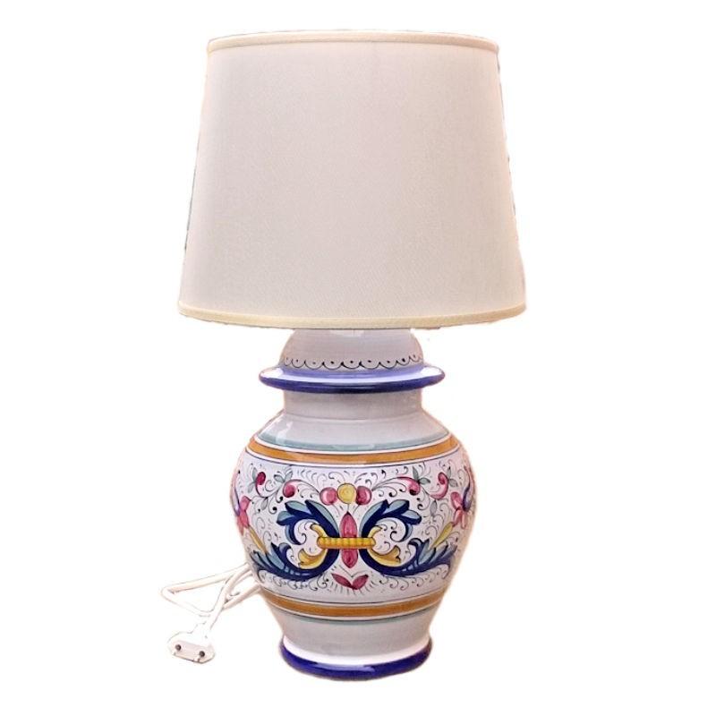 Lampada ceramica maiolica Deruta dipinta a mano decoro Ricco Deruta Blu