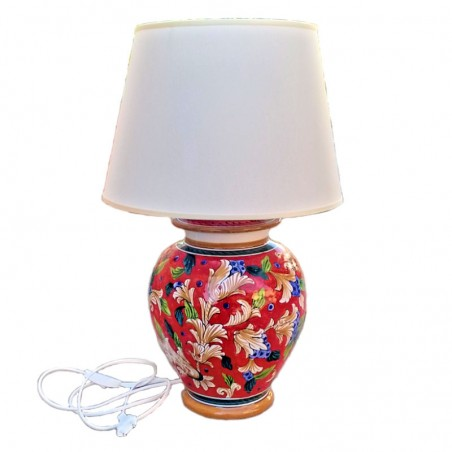 Lampada ceramica maiolica Deruta dipinta a mano decoro Rosso artistico