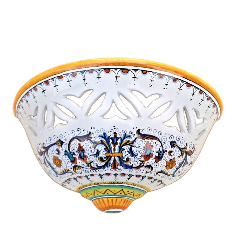 Applique ceramica maiolica Deruta dipinta a mano decoro Ricco Deruta Giallo traforata