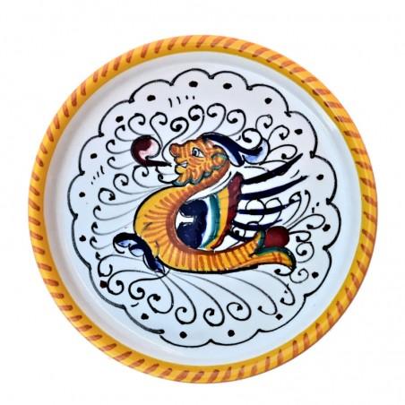 Sottobicchiere sottobottiglia ceramica maiolica Deruta dipinto a mano decoro Raffaellesco