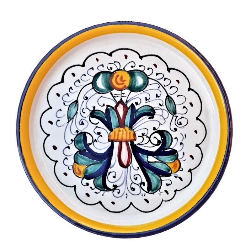 Sottobicchiere sottobottiglia ceramica maiolica Deruta dipinto a mano decoro Ricco Deruta Blu