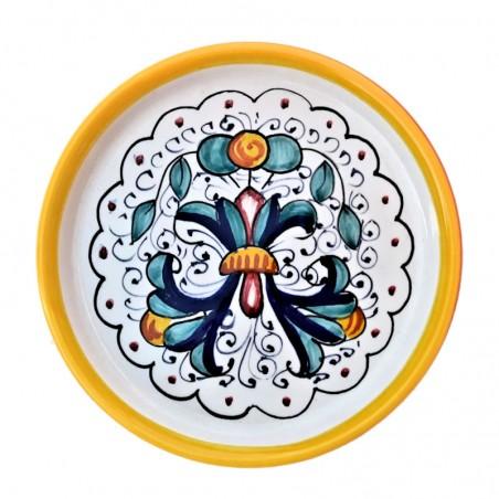 Sottobicchiere sottobottiglia ceramica maiolica Deruta dipinto a mano decoro Ricco Deruta Giallo
