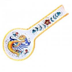 Poggiamestolo ceramica maiolica Deruta dipinto a mano decoro Raffaellesco