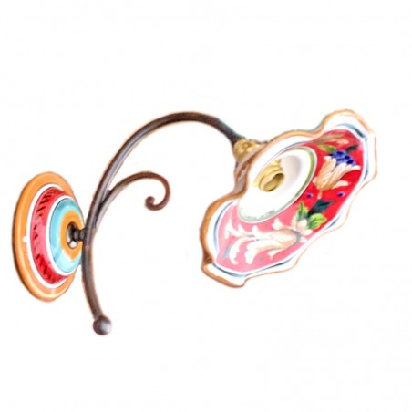 Applique ceramica maiolica Deruta dipinta a mano decoro rosso artistico ferro