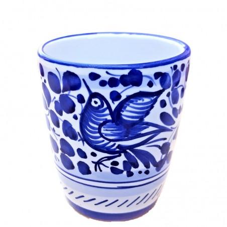 Bicchiere ceramica maiolica Deruta dipinto a mano decoro Arabesco Blu