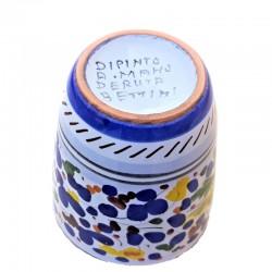 Bicchiere ceramica maiolica Deruta dipinto a mano decoro Arabesco Colorato