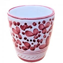 Bicchiere ceramica maiolica Deruta dipinto a mano decoro Arabesco Rosso