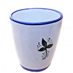 Bicchiere ceramica maiolica Deruta dipinto a mano decoro Uccellino
