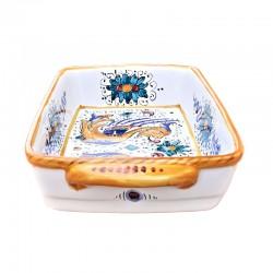 Pirofila da forno in ceramica maiolica Deruta dipinta a mano decoro Raffaellesco