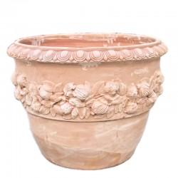 Round terracotta vase with...