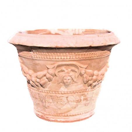 Vaso in terracotta decorato con frutta lavorato a mano