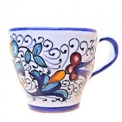 Tazzina Caffè Bar ceramica maiolica Deruta dipinta a mano decoro Ricco Deruta Blu CC 80