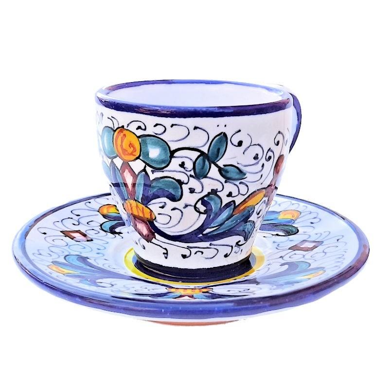 Tazzina e Piattino Caffè Bar ceramica maiolica Deruta dipinto a mano decoro Ricco Deruta Blu