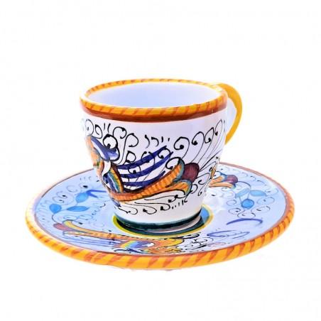 Tazzina e Piattino Caffè Bar ceramica maiolica Deruta dipinto a mano decoro Raffaellesco